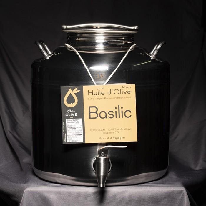 Huile d'olive infusée basilic
